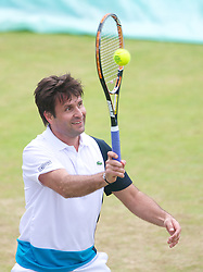 LIVERPOOL, ENGLAND - Saturday, June 22, 2013: Fabrice Santoro during Day Four of the Liverpool Hope University International Tennis Tournament at Calderstones Park. (Pic by David Rawcliffe/Propaganda)