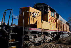 Union Pacific train engine 9950, Harvey House Railroad Depot, originally the Casa del Desierto train station,Barstow, California, United States of America
