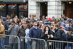 © Licensed to London News Pictures. 27/04/2019. London, UK. Long queue of voters outside High Commission of South Africa in London waiting to cast their vote in this year's general election. Over 9000 South Africans have registered to vote in the UK, which is the highest number of registered voters living abroad. The Electoral Commission has extended voting hours for South African citizens in London until 11:30 pm on Saturday night because of the Vaisakhi Festival at Trafalgar square. Photo credit: Dinendra Haria/LNP