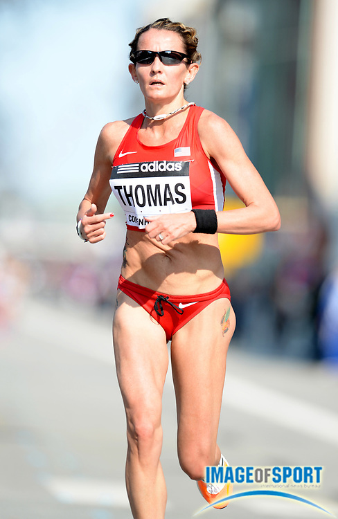 Mar 29, 2014; Copenhagen, Denmark; Wendy Thomas (USA) places 44th in 1:14:07 in the IAAF/AL-Bank World Half Marathon Championship. Photo by Jiro Mochizuki