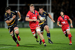 Bristol Rugby Number 8 Mitch Eadie drives forward  - Photo mandatory by-line: Joe Meredith/JMP - Mobile: 07966 386802 - 27/05/2015 - SPORT - Rugby - Worcester - Sixways Stadium - Worcester Warriors v Bristol Rugby - Greene King IPA Championship