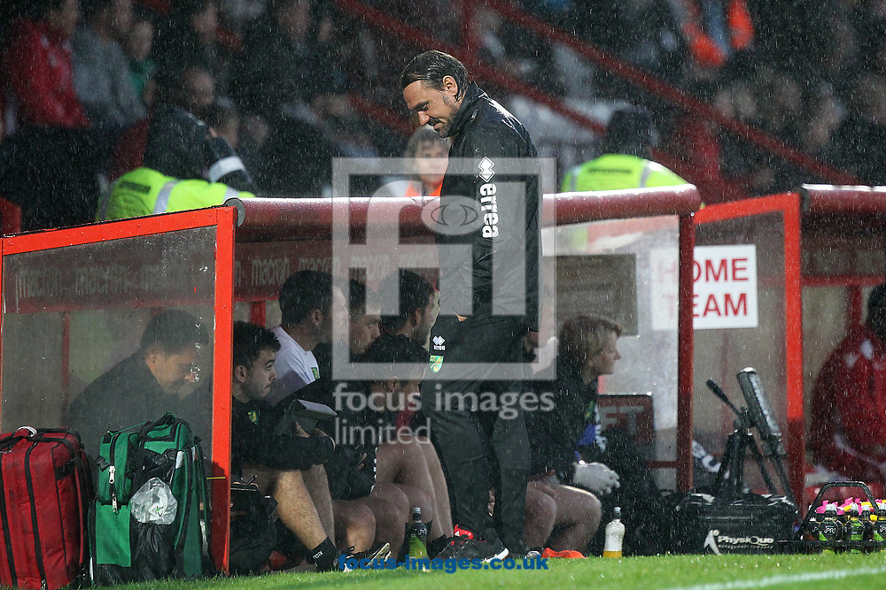 Norwich Head Coach Daniel Farke gives a wry smile as Referee Darren Deadman awards the home side a penalty during the Pre-season Friendly match at the Lamex Stadium, Stevenage<br /> Picture by Paul Chesterton/Focus Images Ltd +44 7904 640267<br /> 11/07/2017