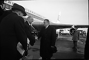 President Eamon de Valera, who attended the funeral of the late President J.F. Kennedy in Washington, arrives home at Dublin Airport.  On the same flight were Frank Aiken, Minister for External Affairs, and the Irish Cadets who formed a Guard of Honour at the graveside during the burial of President Kennedy..27.11.1963