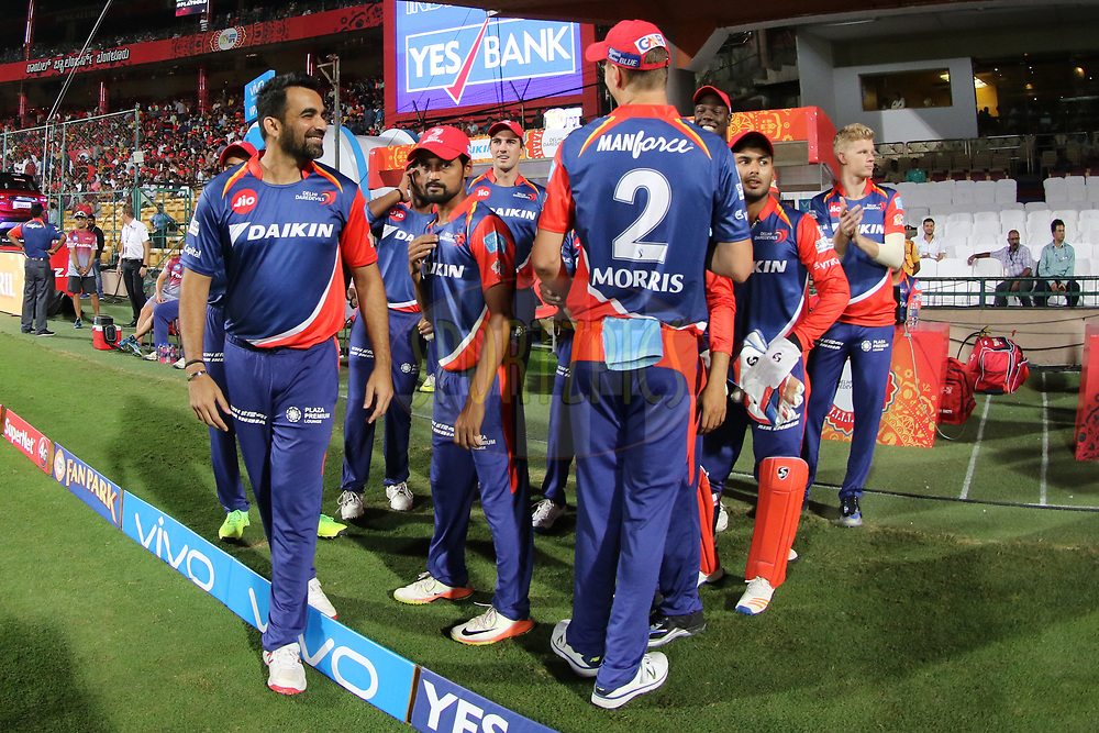 Delhi Daredevils players entering the field during match 5 of the Vivo 2017 Indian Premier League between the Royal Challengers Bangalore and the Delhi Daredevils held at the M.Chinnaswamy Stadium in Bangalore, India on the 8th April 2017<br /> <br /> Photo by Faheem Hussain - IPL - Sportzpics