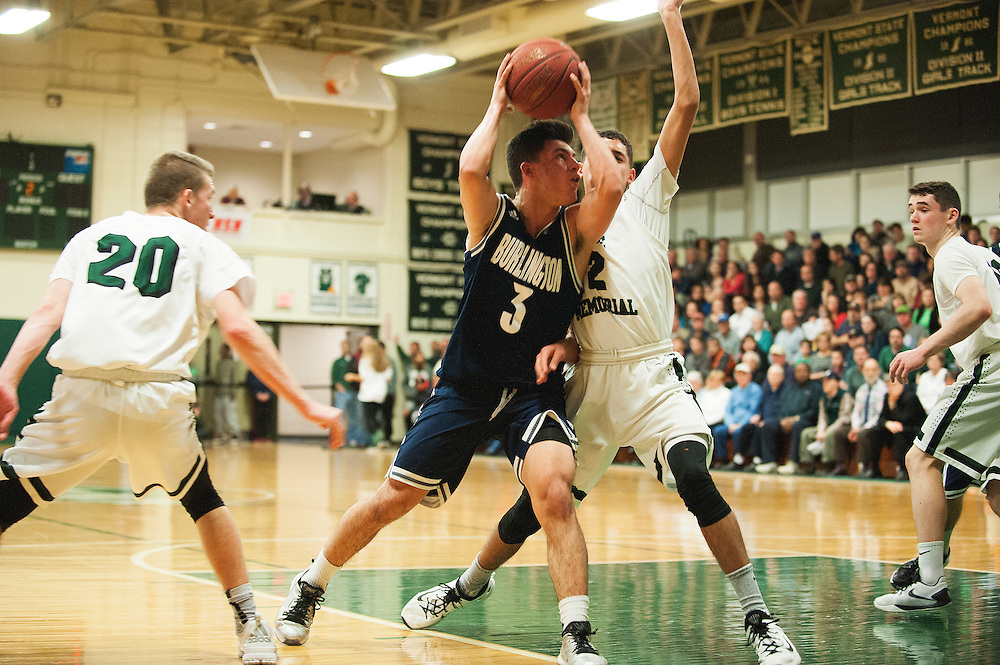 Burlington's Kujtim Hashani (3) drives to the hoop during the boys basketball game between the Burlington Seahorses and the Rice Green knights at Rice Memorial high School on Thursday night January 7, 2016 in South Burlington. (BRIAN JENKINS/for the FREE PRESS)
