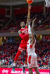 NORMAL, IL - February 16: Defender Malik Yarbrough stands tight and tall but can't stop the shot or draw a foul on Elijah Childs during a college basketball game between the ISU Redbirds and the Bradley Braves on February 16 2019 at Redbird Arena in Normal, IL. (Photo by Alan Look)