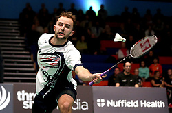 Ben Lane of Bristol Jets plays a forehand shot - Photo mandatory by-line: Robbie Stephenson/JMP - 07/11/2016 - BADMINTON - University of Derby - Derby, England - Team Derby v Bristol Jets - AJ Bell National Badminton League