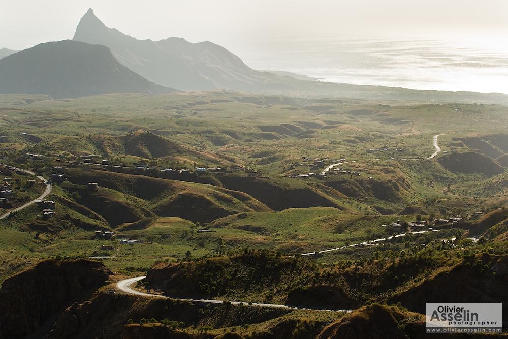 Mountain scenery on the road between Praia and Tarrafal, Santiago Island, Cape Verde, Africa, Monday December 27, 2010.