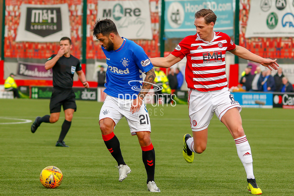 Daniel Candeias pulled back for being offside during the Ladbrokes Scottish Premiership match between Hamilton Academical FC and Rangers at The Hope CBD Stadium, Hamilton, Scotland on 24 February 2019.