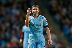James Milner of Manchester City gestures to the linesman - Photo mandatory by-line: Rogan Thomson/JMP - 07966 386802 - 29/10/2014 - SPORT - FOOTBALL - Manchester, England - Etihad Stadium - Manchester City v Newcastle United - Capital One Cup Fourth Round.