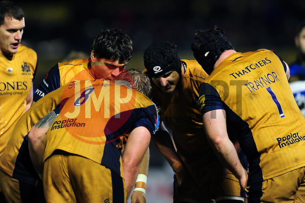 The Bristol Rugby forwards huddle together during a break in play - Mandatory byline: Patrick Khachfe/JMP - 07966 386802 - 18/11/2016 - RUGBY UNION - The Recreation Ground - Bath, England - Bath Rugby v Bristol Rugby - Aviva Premiership.