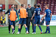 Craig Levein, manager of Heart of Midlothian congratulates his players at the end of the Ladbrokes Scottish Premiership match between Motherwell and Heart of Midlothian at Fir Park, Motherwell, Scotland on 15 September 2018.