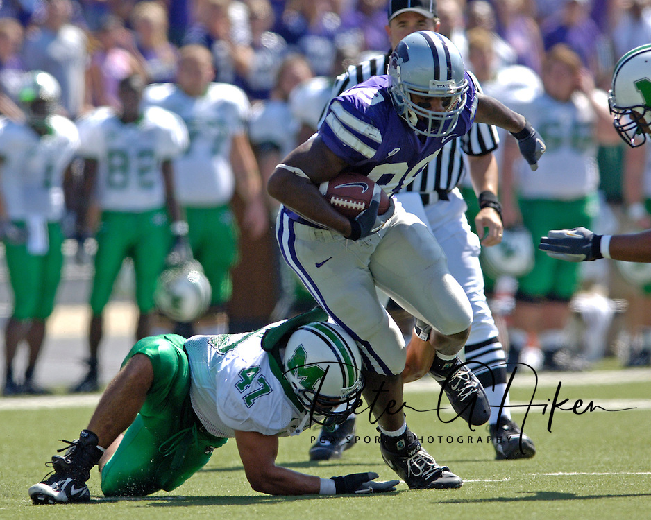 Kansas State tight end Rashaad Norwood (89) turns up field over Marshall's Matt Couch (47) in the second half, at Bill Snyder Family Stadium in Manhattan, Kansas, September 16, 2006.  The Wildcats beat the Thundering Herd 23-7.