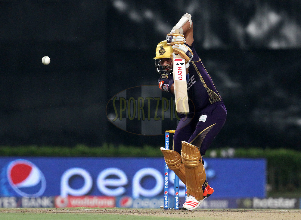 Kolkata Knight Riders player Robin Uthappa plays a shot during match 38 of the Pepsi IPL 2015 (Indian Premier League) between The Kolkata Knight Riders and The Sunrisers Hyderabad held at Eden Gardens Stadium in Kolkata, India on the 4th May 2015.<br /> <br /> Photo by:  Vipin Pawar / SPORTZPICS / IPL
