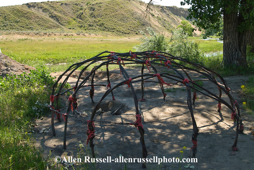 Sweat Lodge frame, Little Bighorn River, Crow Indian Reservation, Medicine Tail Coulee where Battle of the Little Bighorn occurred, Montana.