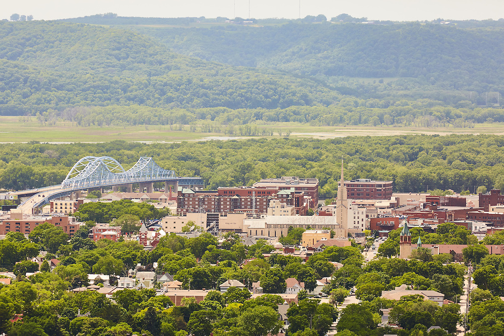 Buildings; Downtown; Location; Outside; Time/Weather; day; Downtown La Crosse views; Aerial view of downtown from Graddad bluff