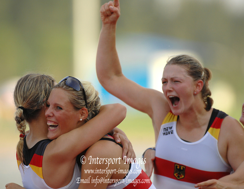 Beijing, CHINA. A Finals, 'Celebration time' Germany's silver medal winning women's eight, celebrate on the awards dock, at  the  2007. FISA Junior World Rowing Championships,  Shunyi Water Sports Complex. 11/08/2007 [Photo, Peter Spurrier/Intersport-images]..... , Rowing Course, Shun Yi Water Complex, Beijing, CHINA,