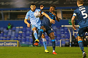 Max Biamou and Rollin Meneyese compete for the ball during the The FA Cup third round replay match between Coventry City and Bristol Rovers at the Trillion Trophy Stadium, Birmingham, England on 14 January 2020.
