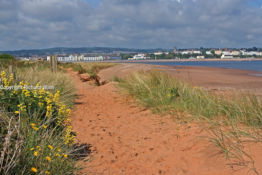 View of Exmouth from the spit across the mouth of the Exe Estuary at Dawlish Warren.