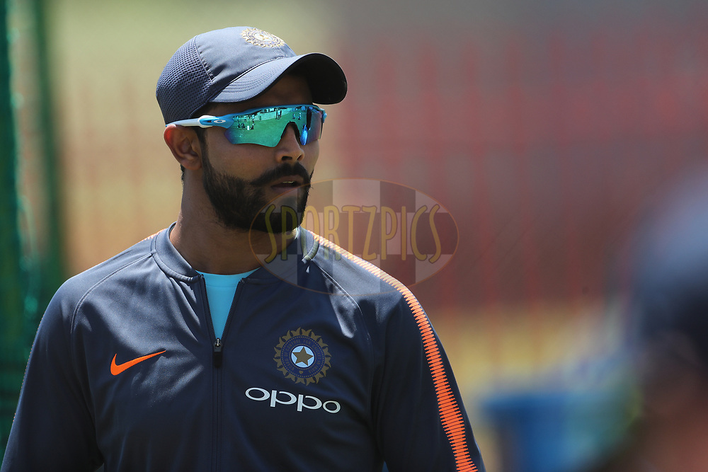 Ravindra Jadeja of India  during the Indian team practice session and press conference held at the Supersport Park stadium in Centurion, Gauteng, South Africa ahead of the 2nd test match between South Africa and India on the 12th January 2018<br /> <br /> Photo by: Ron Gaunt / BCCI / SPORTZPICS