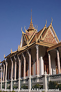 The Silver Pagoda is one of the many beautiful buildings on view on the grounds of The Royal Palace in Phnom Penh, Cambodia.