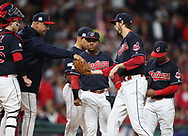October 11, 2017 - Cleveland, OH, USA - Cleveland Indians manager Terry Francona, left, gives the ball to reliever Andrew Miller in the fourth inning against the New York Yankees during Game 5 of the American League Division Series, Wenesday, Oct. 11, 2017, at Progressive Field in Cleveland. (Credit Image: © Phil Masturzo/TNS via ZUMA Wire)