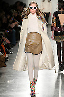 Lana Forneck walks the runway wearing Custo Barcelona Fall 2016 20th Anniversary Collection during New York Fashion Week on February 14, 2016