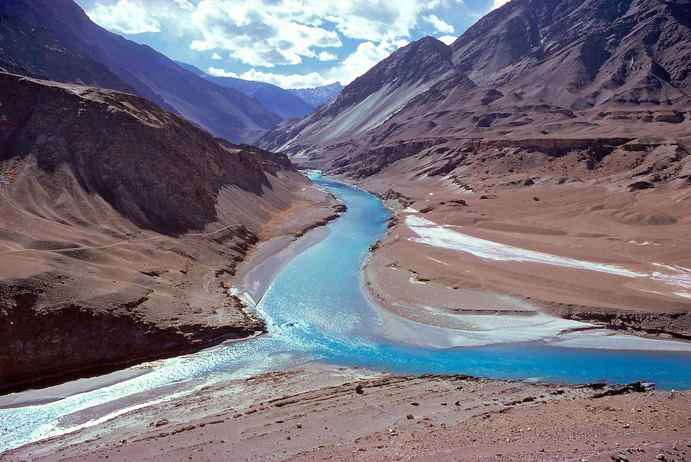 The blue waters of the Indus and Zanskar Rivers merge in Ladakh in northern India.