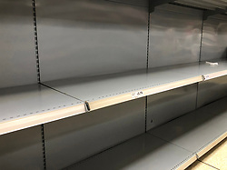 © Licensed to London News Pictures. 13/03/2020. Leeds UK. SAINSBURY'S LEEDS. Empty Toilet Roll shelves at Sainsbury's in the Colton area of Leeds this morning as people continue to panic buy in fear of quarantine measures and shortages as the current Coronavirus ( COVID-19 ) spread starts to impact more people. Photo credit: Andrew McCaren/LNP