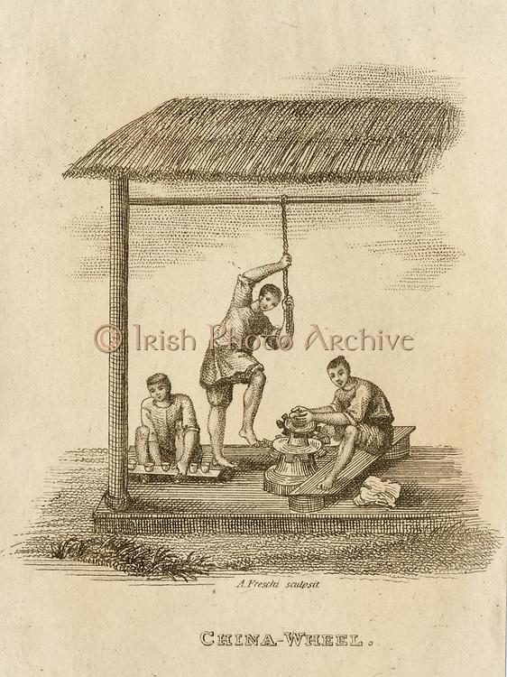Production of ceramics using a kick wheel  -  China. Engraving, 1812.