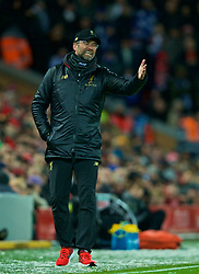 LIVERPOOL, ENGLAND - Wednesday, January 30, 2019: Liverpool's manager Jürgen Klopp reacts during the FA Premier League match between Liverpool FC and Leicester City FC at Anfield. (Pic by David Rawcliffe/Propaganda)