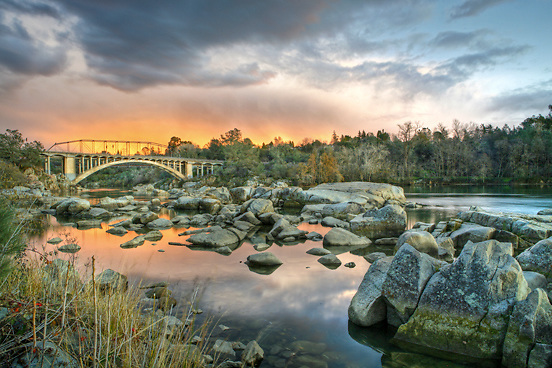 Folsom's Rainbow Bridge. The sun was setting behind the camera and the color is the reflection from the sunset's colors.