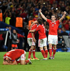 Gareth Bale of Wales and team mates react to Wales win on the final whistle  - Mandatory by-line: Joe Meredith/JMP - 01/07/2016 - FOOTBALL - Stade Pierre Mauroy - Lille, France - Wales v Belgium - UEFA European Championship quarter final