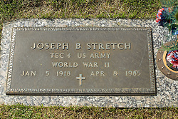 31 August 2017:   Veterans graves in Park Hill Cemetery in eastern McLean County.<br /> <br /> Joseph B Stretch Tec4 US Army World War II  Jan 5 1918 Apr 8 1985