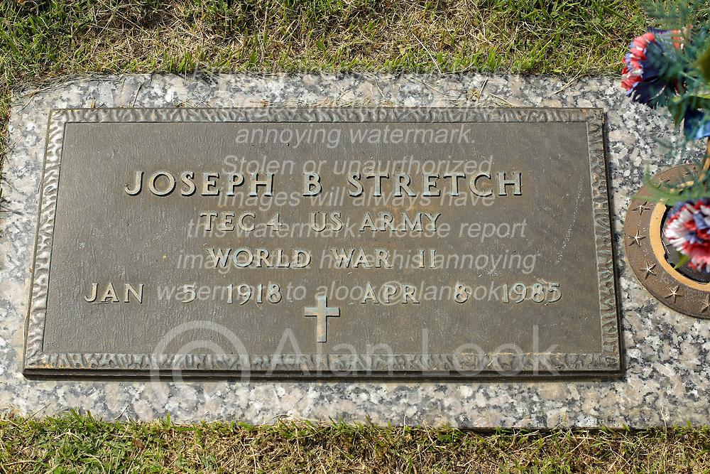 31 August 2017:   Veterans graves in Park Hill Cemetery in eastern McLean County.<br /> <br /> Joseph B Stretch Tec4 US Army World War II  Jan 5 1918 Apr 8 1985