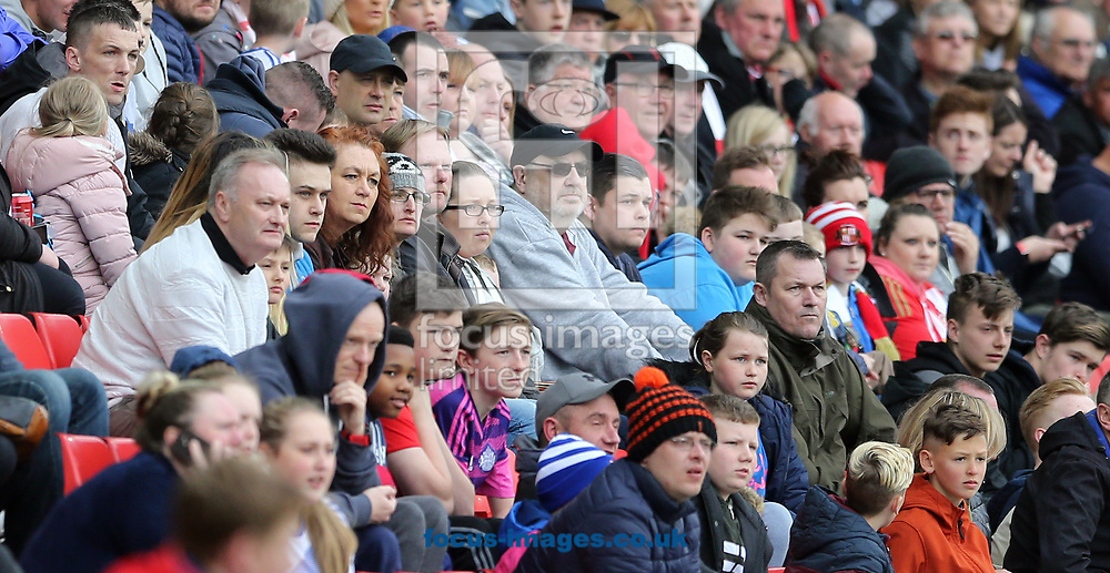 Glum Sunderland fans watching the game during the Premier League match at the Stadium Of Light, Sunderland<br /> Picture by Simon Moore/Focus Images Ltd 07807 671782<br /> 29/04/2017