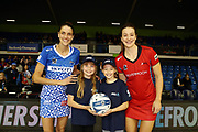 ANZ Future Captains Tallulah Brew aged 10 and Ruby Peacock aged 11 pose for a photo with Anna Harrison of the Mystics and Jess Maclennan of the Tactix prior to the match. 2018 ANZ Premiership netball match, Mystics v Tactix at The Trusts Arena, Auckland, New Zealand. 9 May 2018 © Copyright Photo: Anthony Au-Yeung / www.photosport.nz
