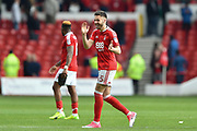 Nottingham Forest forward Ben Brereton (45) delighted after the Reds won 3-1 during the EFL Sky Bet Championship match between Nottingham Forest and Reading at the City Ground, Nottingham, England on 22 April 2017. Photo by Jon Hobley.