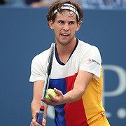 2017 U.S. Open Tennis Tournament - DAY SIX. Dominic Thiem of Austria in action against Adrian Mannarino of France during the Men's Singles round three match at the US Open Tennis Tournament at the USTA Billie Jean King National Tennis Center on September 02, 2017 in Flushing, Queens, New York City.  (Photo by Tim Clayton/Corbis via Getty Images)