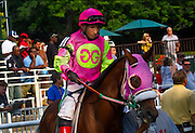 """Chop, Chop"" aka Jorge Chavez, is up on ""Kingsdale Ocean"" in the post parade at Belmont Park in July of 2011. He last rode in December of that year, when he had a career ending accident. Jorge was long a New York favorite, and had over 4000 career winners, including the Kentucky Derby."