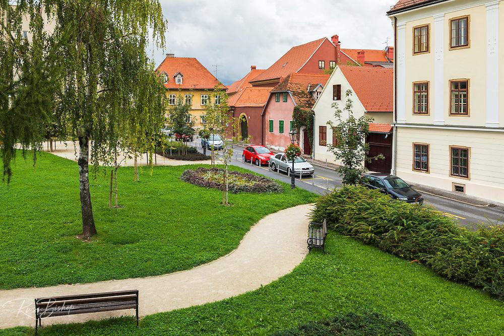 City park in old town Gradec, Zagreb, Croatia
