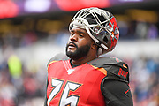 Tampa Bay Buccaneers Offensive Linesman Donovan Smith (76) during the International Series match between Tampa Bay Buccaneers and Carolina Panthers at Tottenham Hotspur Stadium, London, United Kingdom on 13 October 2019.