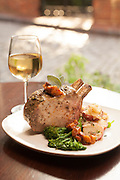 The Brickhouse Run, Roasted Pork CHop, red potatoes, broccolini, peaches