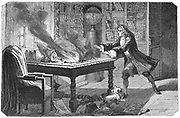 Isaac Newton (1642-1727) English scientist and mathematician. Reflecting telescope: differential calculus; gravitation. Newton's dog knocking over a candle and setting fire to Newton's papers. Engraving published Paris 1874