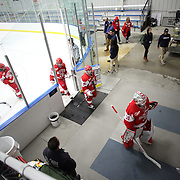 Boston University players leave the ice between periods  during the UConn Vs Boston University, Women's Ice Hockey game at Mark Edward Freitas Ice Forum, Storrs, Connecticut, USA. 5th December 2015. Photo Tim Clayton