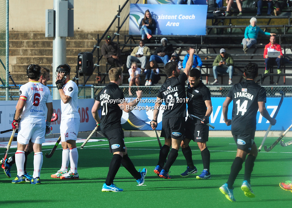 New Zealand players celebrating Russell Kane's goal during 2017 Hockey World League Men Semi Final game between Spain and New Zealand at Wits Hockey Fields in Parktown on 17 July 2017 ©Aubrey Kgakatsi/BackpagePix / www.photosport.nz