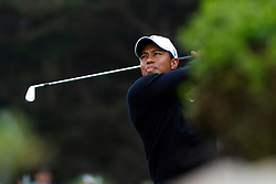 Feb 10, 2012; Pebble Beach CA, USA; Tiger Woods hits his tee shot on the seventh hole during the second round of the AT&T Pebble Beach Pro-Am at Monterey Peninsula Country Club. Mandatory Credit: Jason O. Watson-US PRESSWIRE
