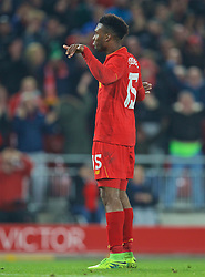 LIVERPOOL, ENGLAND - Tuesday, October 25, 2016: Liverpool's Daniel Sturridge celebrates scoring the second goal against Tottenham Hotspur during the Football League Cup 4th Round match at Anfield. (Pic by David Rawcliffe/Propaganda)