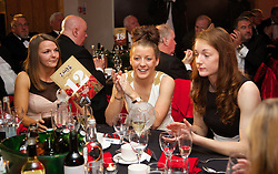 CARDIFF, WALES - Monday, October 6, 2014: Wales' Hayley Ladd, Angharad James and xxxx at the FAW Footballer of the Year Awards 2014 held at the St. David's Hotel. (Pic by David Rawcliffe/Propaganda)