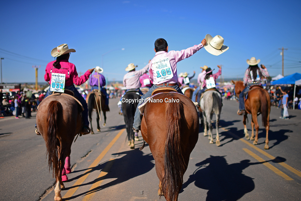 Morning parade at Navajo Nation Fair, a world-renowned event that showcases Navajo Agriculture, Fine Arts and Crafts, with the promotion and preservation of the Navajo heritage by providing cultural entertainment. Window Rock, Arizona.